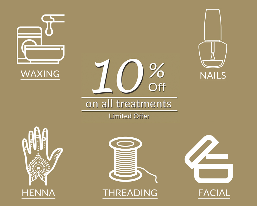 10% discount on beauty treatments at Sam khan beauty salon in woking